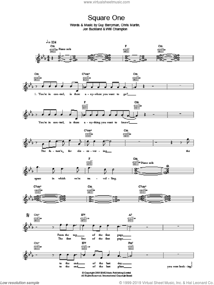 Square One sheet music for voice and other instruments (fake book) by Coldplay, Chris Martin, Guy Berryman, Jon Buckland and Will Champion, intermediate skill level