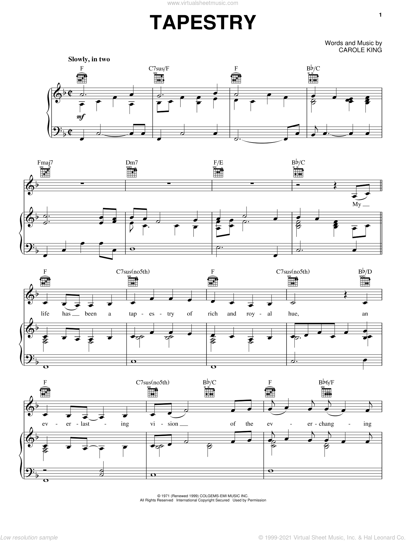 Tapestry sheet music for voice, piano or guitar by Carole King, intermediate voice, piano or guitar. Score Image Preview.