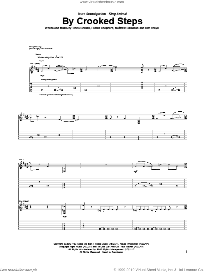 By Crooked Steps sheet music for guitar (tablature) by Soundgarden. Score Image Preview.