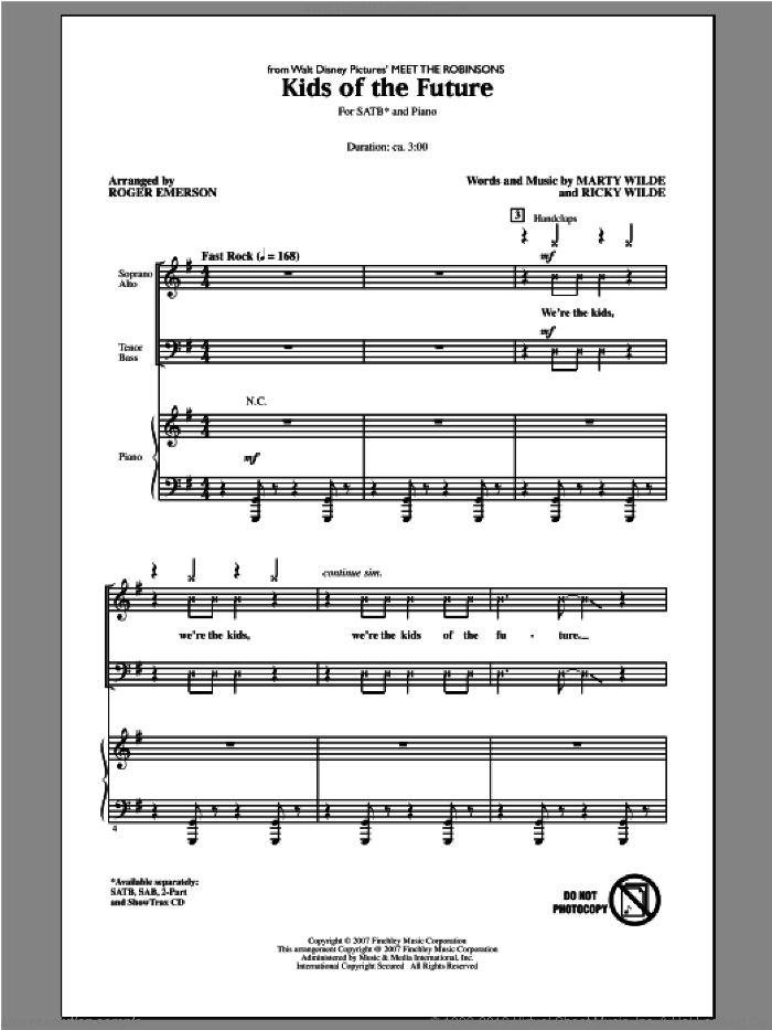 Kids Of The Future sheet music for choir (SATB) by Roger Emerson and Jonas Brothers. Score Image Preview.