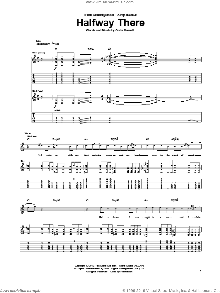 Halfway There sheet music for guitar (tablature) by Soundgarden, intermediate. Score Image Preview.