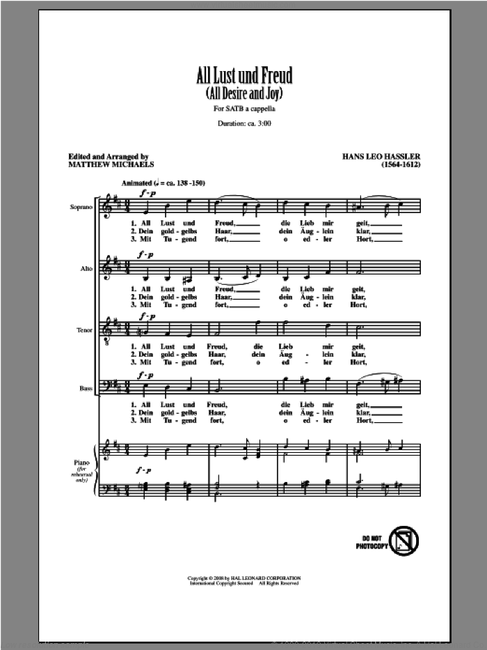 All Lust Und Freud (All Desire And Joy) sheet music for choir (SATB: soprano, alto, tenor, bass) by Matthew Michaels, intermediate skill level