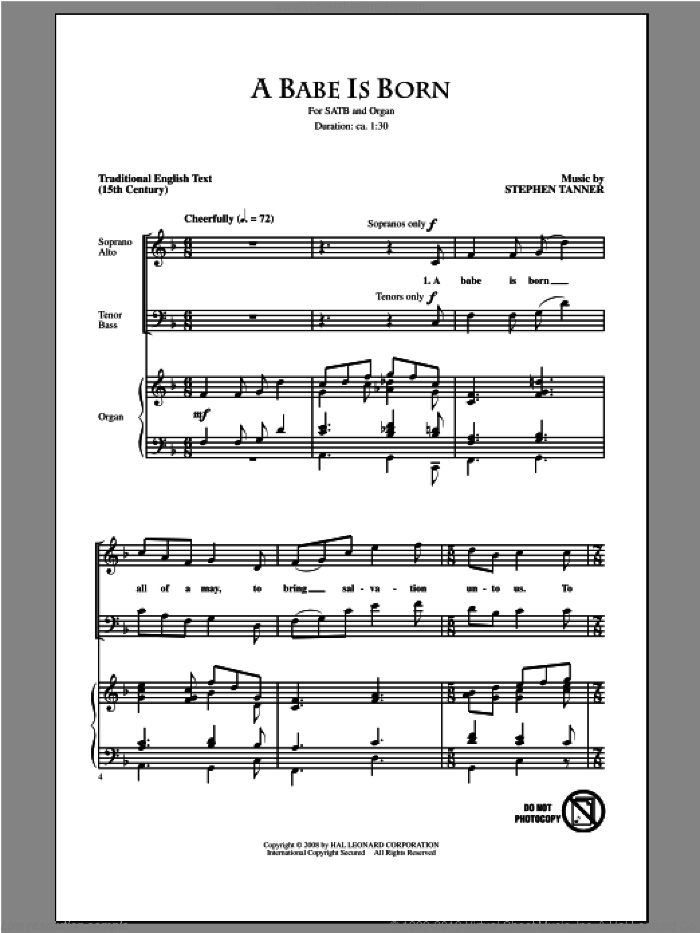A Babe Is Born sheet music for choir and piano (SATB) by Stephen Tanner