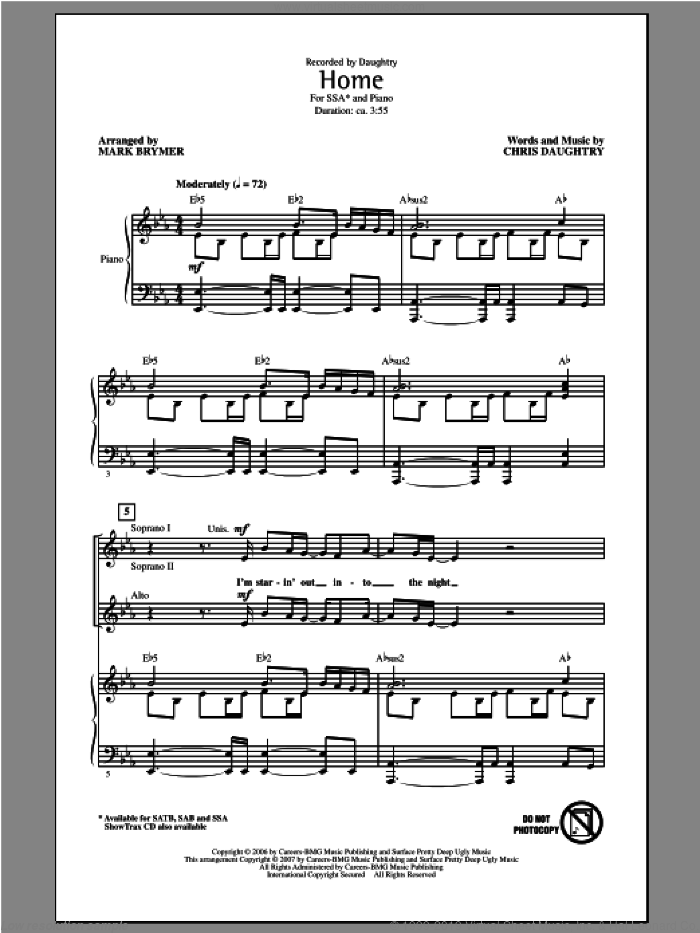 Home sheet music for choir (soprano voice, alto voice, choir) by Mark Brymer and Daughtry. Score Image Preview.