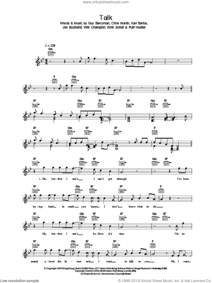 Talk, fake book sheet music for voice and other instruments (fake book) by Will Champion
