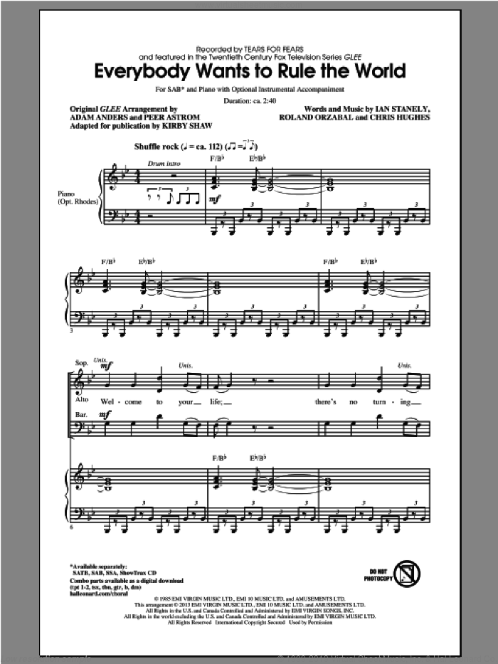 Everybody Wants To Rule The World sheet music for choir (SAB: soprano, alto, bass) by Kirby Shaw, Glee Cast and Tears For Fears, intermediate. Score Image Preview.