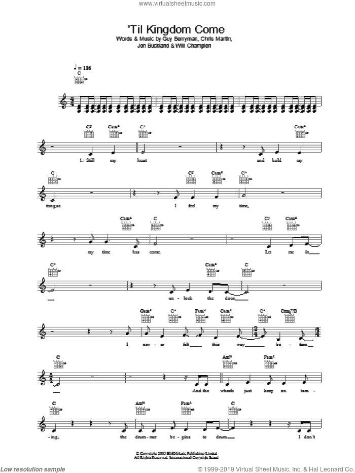 Til Kingdom Come sheet music for voice and other instruments (fake book) by Coldplay, Chris Martin, Guy Berryman, Jon Buckland and Will Champion, intermediate