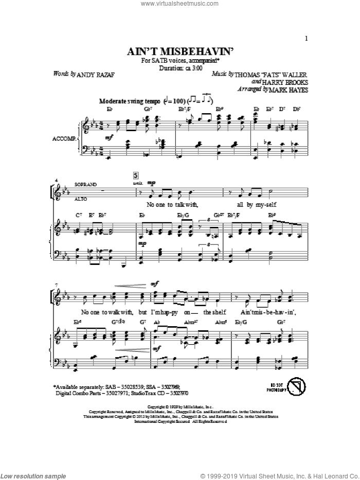 Ain't Misbehavin' sheet music for choir (SATB) by Mark Hayes and Thomas Waller. Score Image Preview.