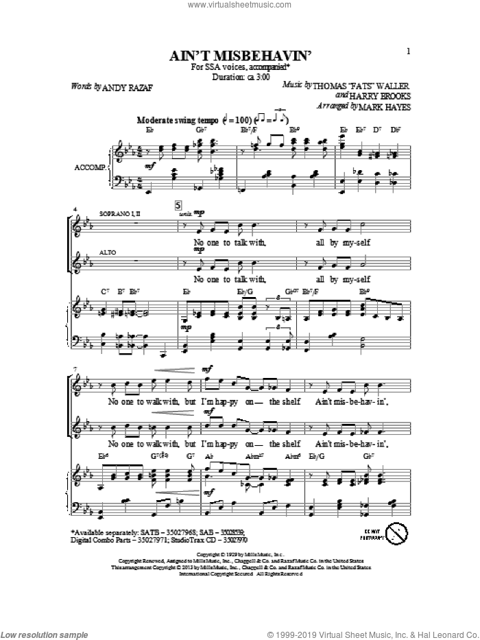 Ain't Misbehavin' sheet music for choir (SSA: soprano, alto) by Mark Hayes and Thomas Waller, intermediate skill level