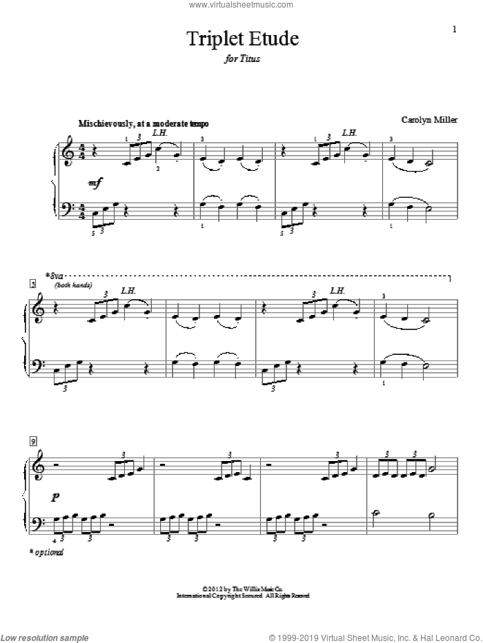 Triplet Etude sheet music for piano solo (elementary) by Carolyn Miller, classical score, beginner piano (elementary). Score Image Preview.