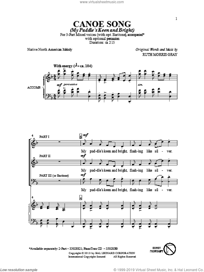 Canoe Song sheet music for choir (3-Part Mixed) by Ruth Morris Gray, intermediate skill level