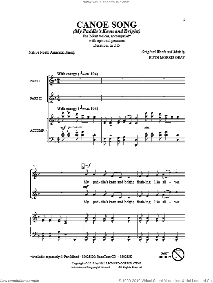 Canoe Song sheet music for choir (2-Part) by Ruth Morris Gray, intermediate duet. Score Image Preview.