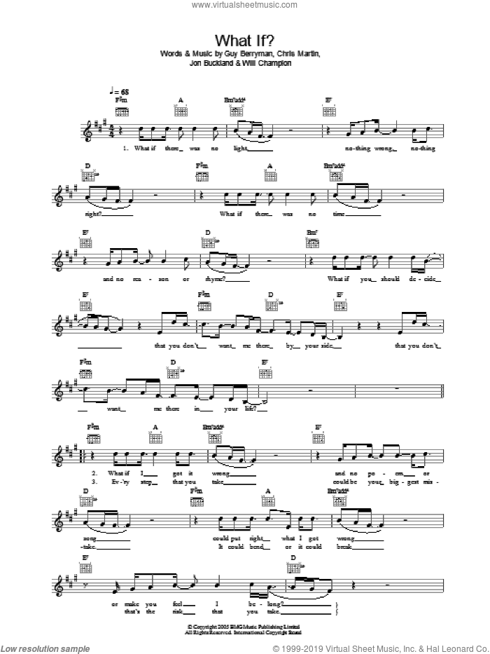 What If? sheet music for voice and other instruments (fake book) by Will Champion, Coldplay, Chris Martin, Guy Berryman and Jon Buckland. Score Image Preview.