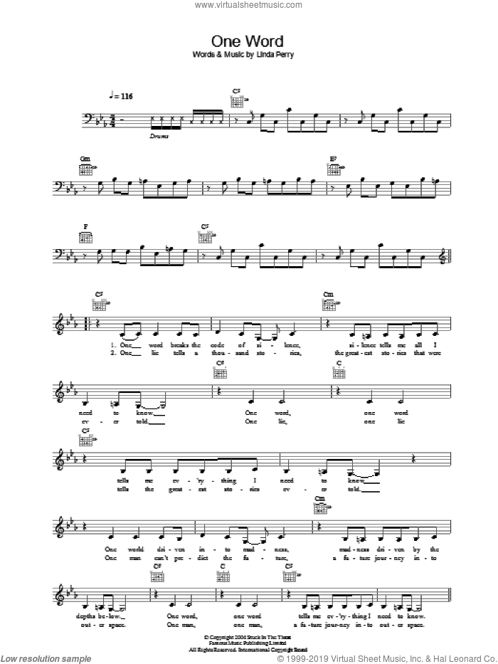 One Word sheet music for voice and other instruments (fake book) by Linda Perry. Score Image Preview.
