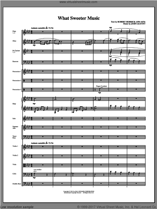 What Sweeter Music (COMPLETE) sheet music for orchestra by John Leavitt
