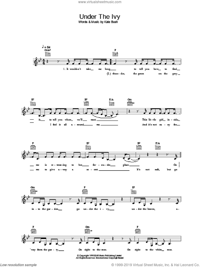 Under The Ivy sheet music for voice and other instruments (fake book) by Kate Bush, intermediate skill level