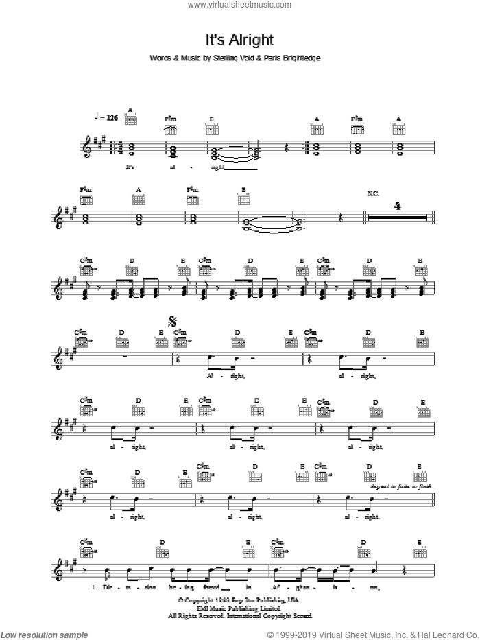 It's Alright sheet music for voice and other instruments (fake book) by Sterling Void and The Pet Shop Boys. Score Image Preview.