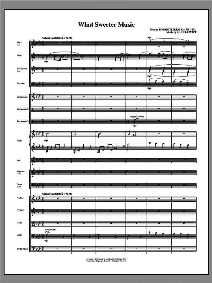 What Sweeter Music (COMPLETE) sheet music for orchestra/band (chamber ensemble) by John Leavitt, intermediate skill level