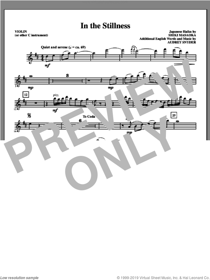 In the Stillness (complete set of parts) sheet music for orchestra/band by Audrey Snyder, intermediate skill level