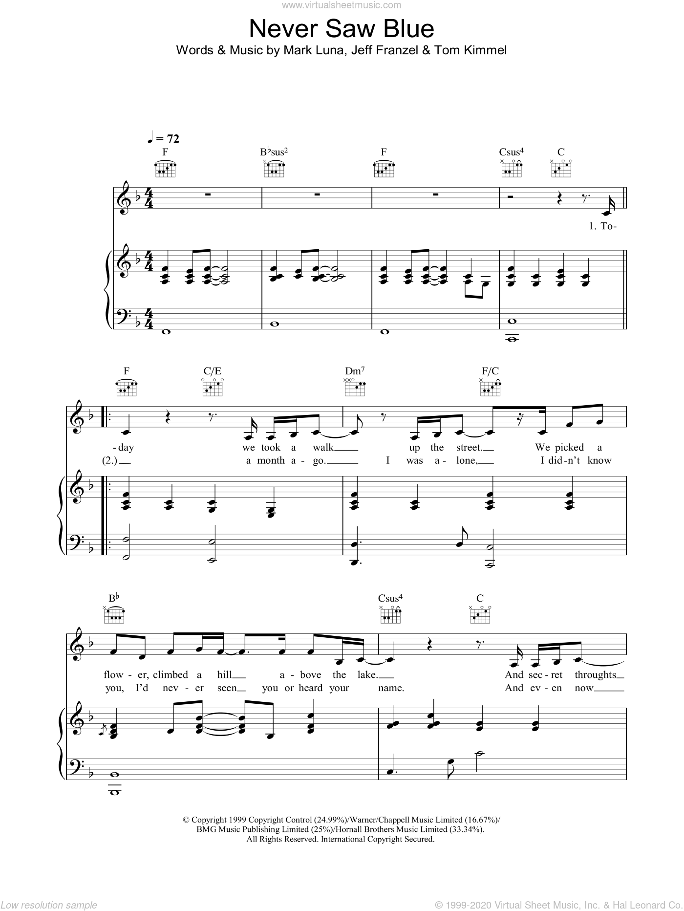 Never Saw Blue sheet music for voice, piano or guitar by Tom Kimmel and Hayley Westenra. Score Image Preview.