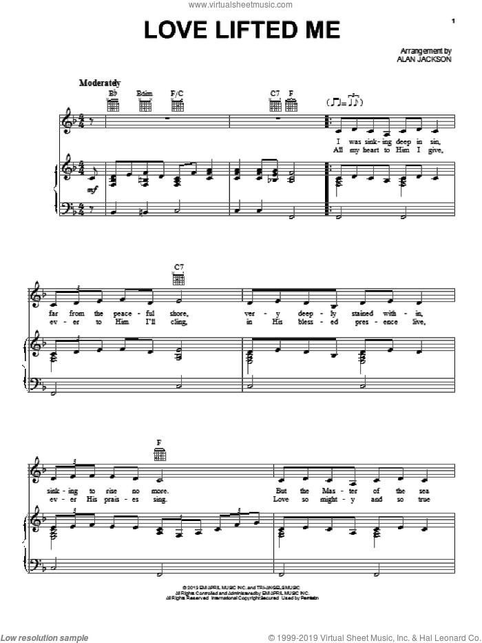 Love Lifted Me sheet music for voice, piano or guitar by Alan Jackson, intermediate