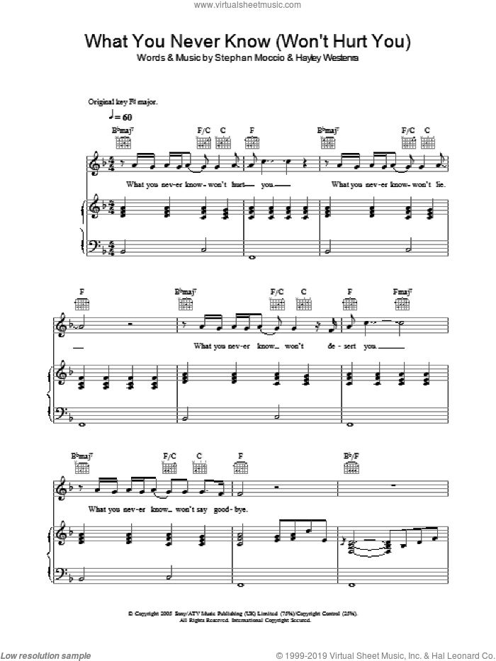 What You Never Know (Won't Hurt You) sheet music for voice, piano or guitar by Hayley Westenra and Stephan Moccio. Score Image Preview.