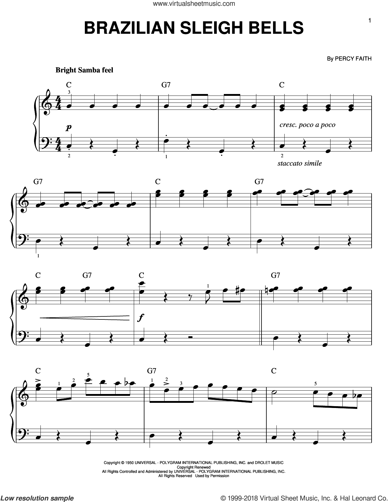 Brazilian Sleigh Bells sheet music for piano solo by Percy Faith, easy. Score Image Preview.