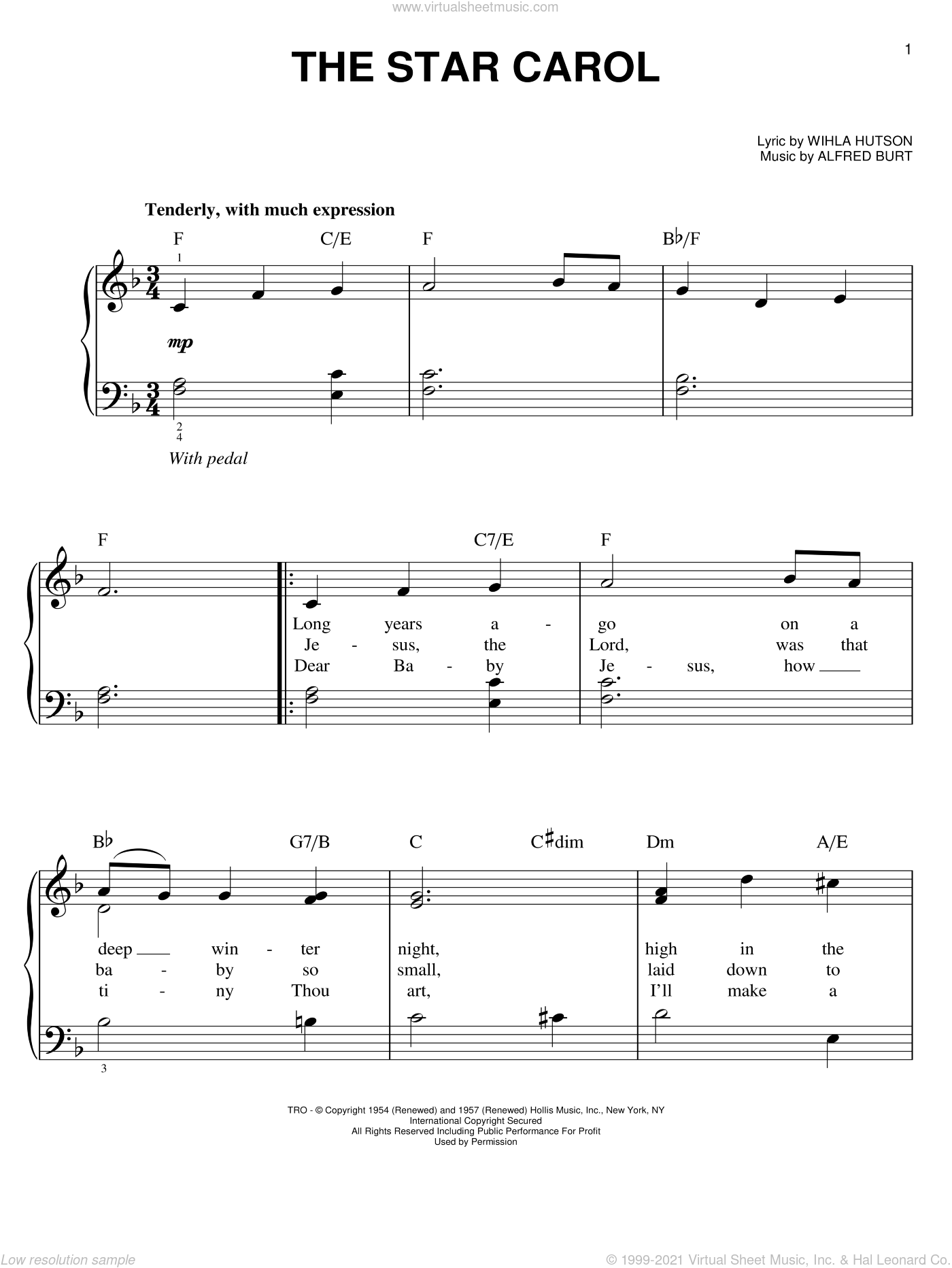 The Star Carol sheet music for piano solo by Wihla Hutson and Alfred Burt, easy skill level
