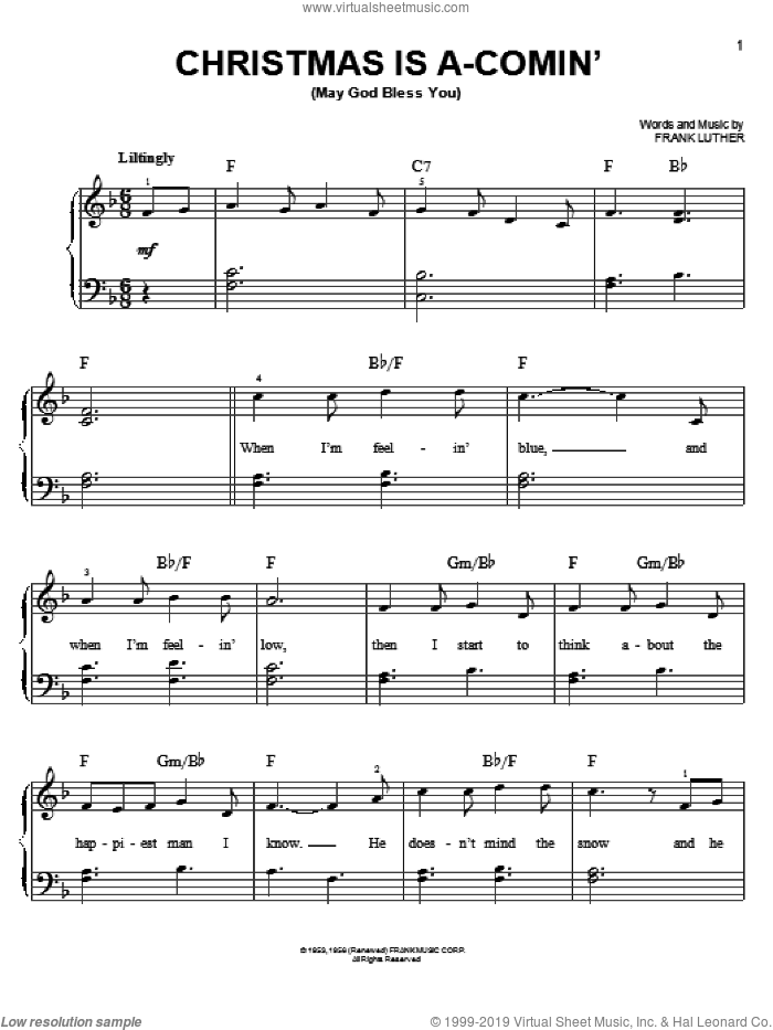 Christmas Is A-Comin' (May God Bless You) sheet music for piano solo by Frank Luther, easy skill level