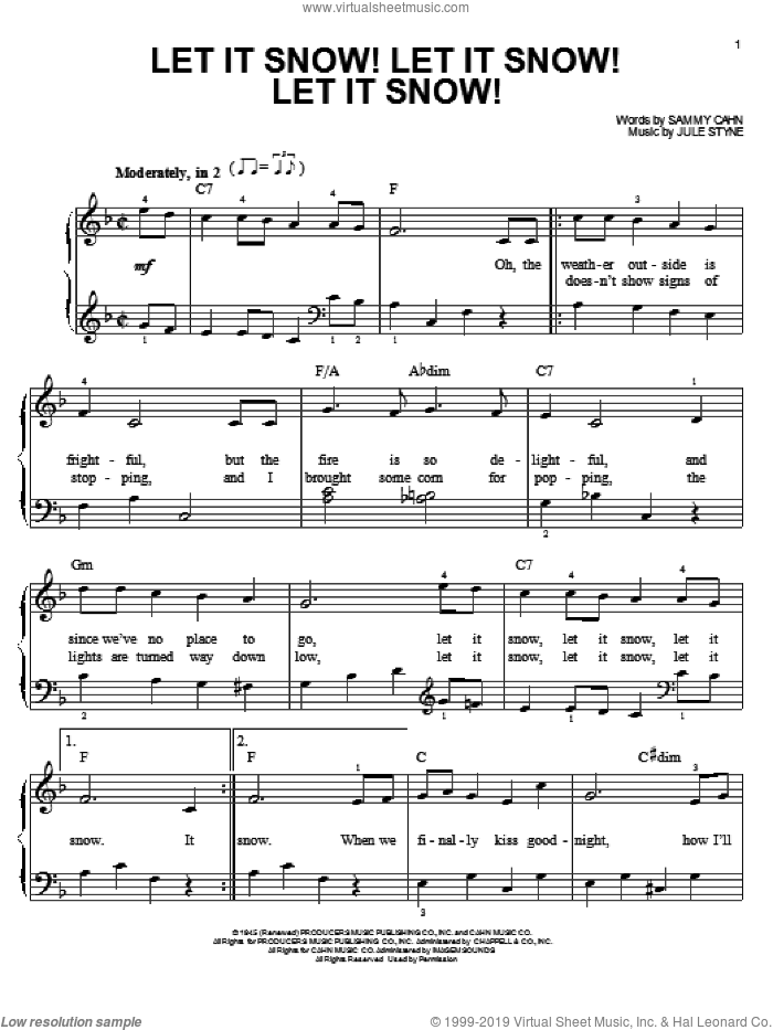 Let It Snow! Let It Snow! Let It Snow! sheet music for piano solo by Joe Nichols and Jule Styne. Score Image Preview.