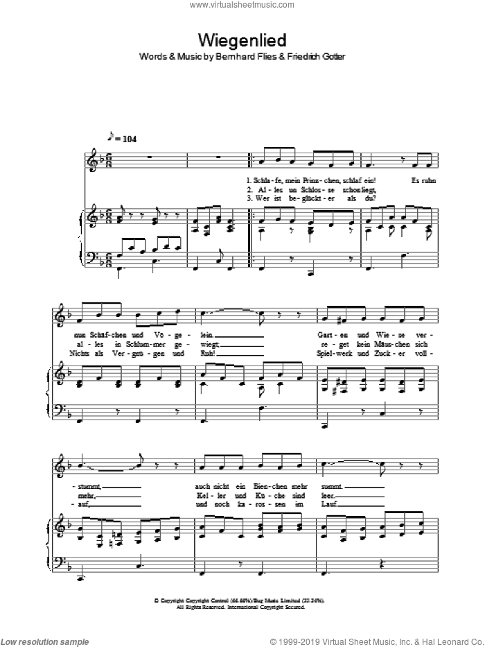 Wiegenlied sheet music for voice, piano or guitar by Friedrich Gotter and Hayley Westenra. Score Image Preview.