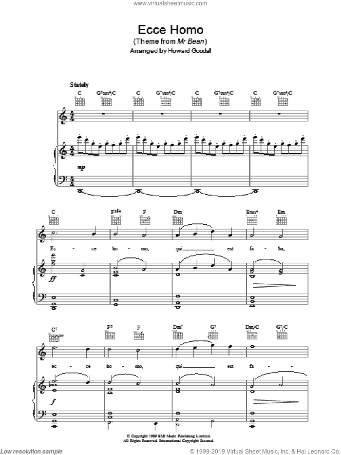 Ecce Homo (theme from Mr Bean) sheet music for voice, piano or guitar by The Choirboys and Howard Goodall, intermediate skill level
