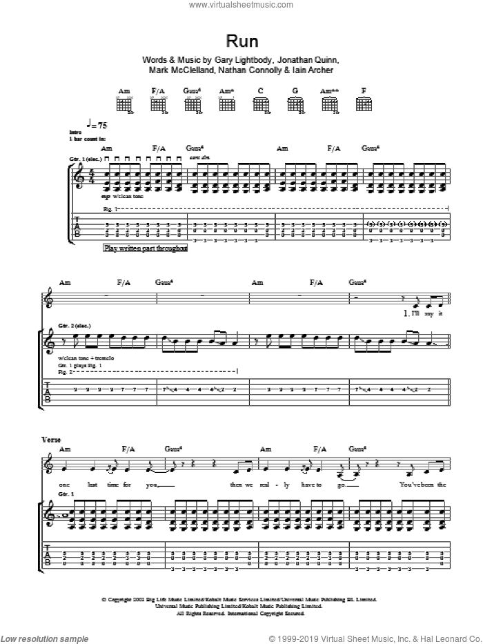 Run sheet music for guitar (tablature) by Nathan Connolly, Snow Patrol, Gary Lightbody and Iain Archer. Score Image Preview.