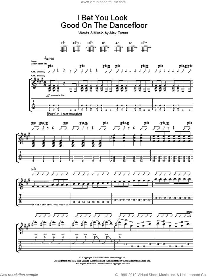 I Bet You Look Good On The Dance Floor sheet music for guitar (tablature) by Arctic Monkeys, intermediate guitar (tablature). Score Image Preview.