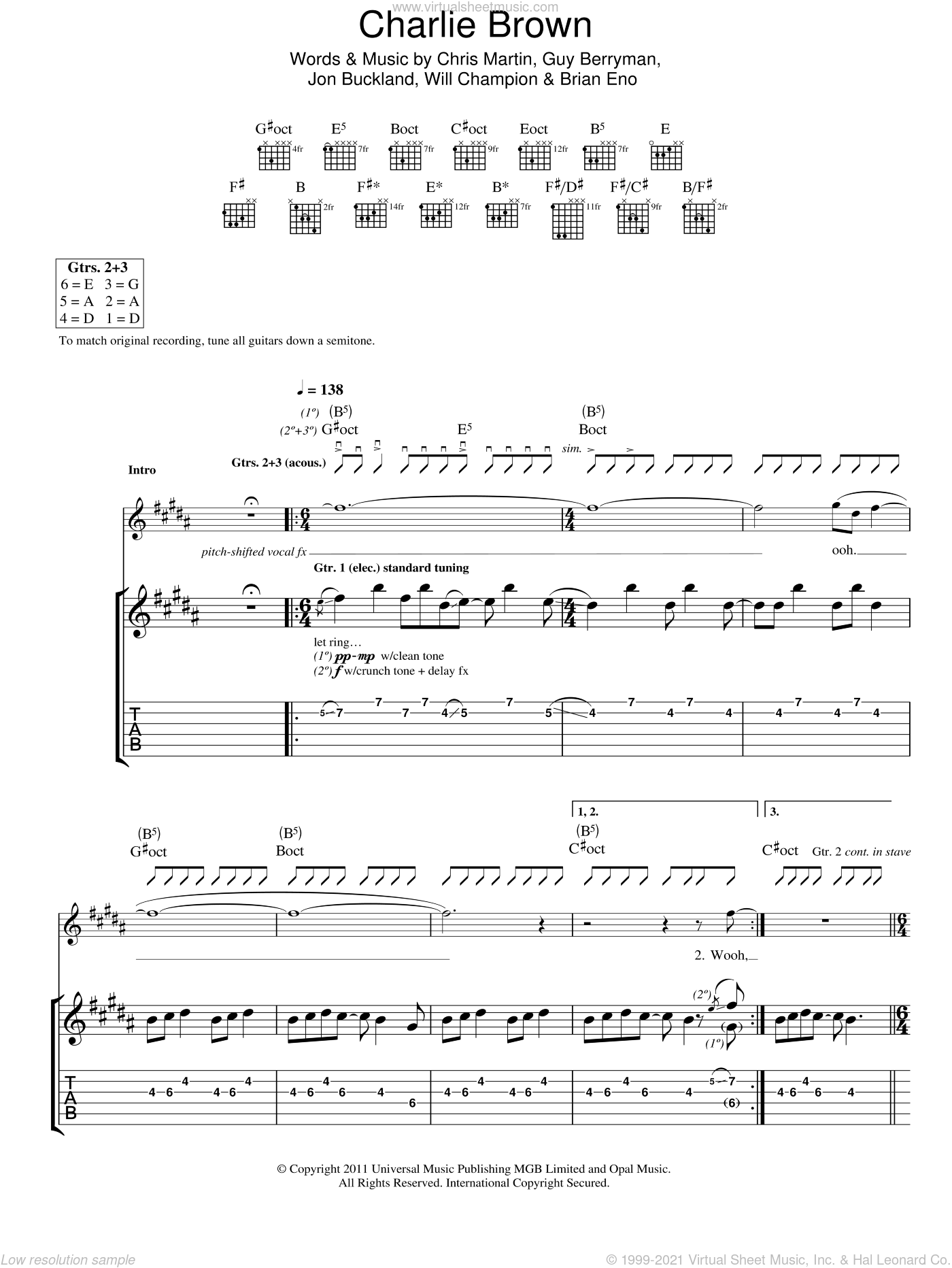 Charlie Brown sheet music for guitar (tablature) by Will Champion, Coldplay, Brian Eno, Chris Martin, Guy Berryman and Jon Buckland. Score Image Preview.