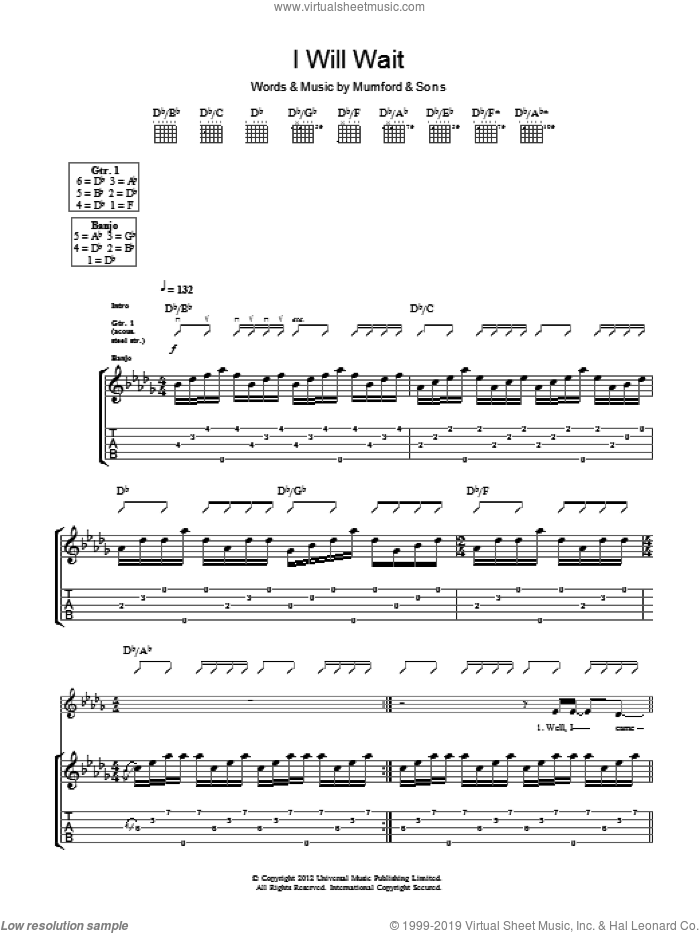 I Will Wait sheet music for guitar (tablature) by Marcus Mumford