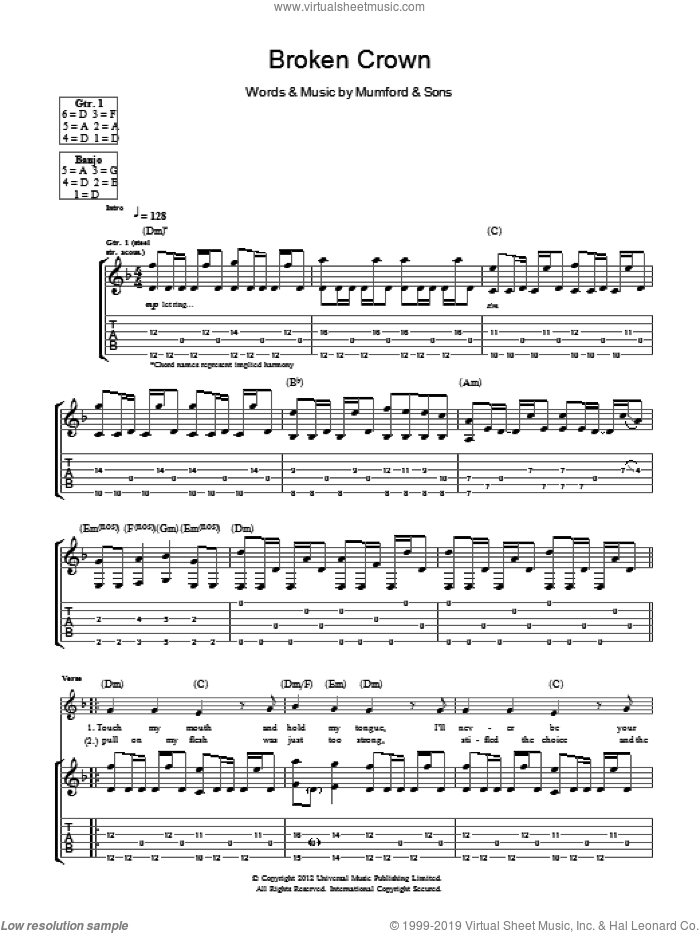 Broken Crown sheet music for guitar (tablature) by Mumford & Sons, intermediate guitar (tablature). Score Image Preview.