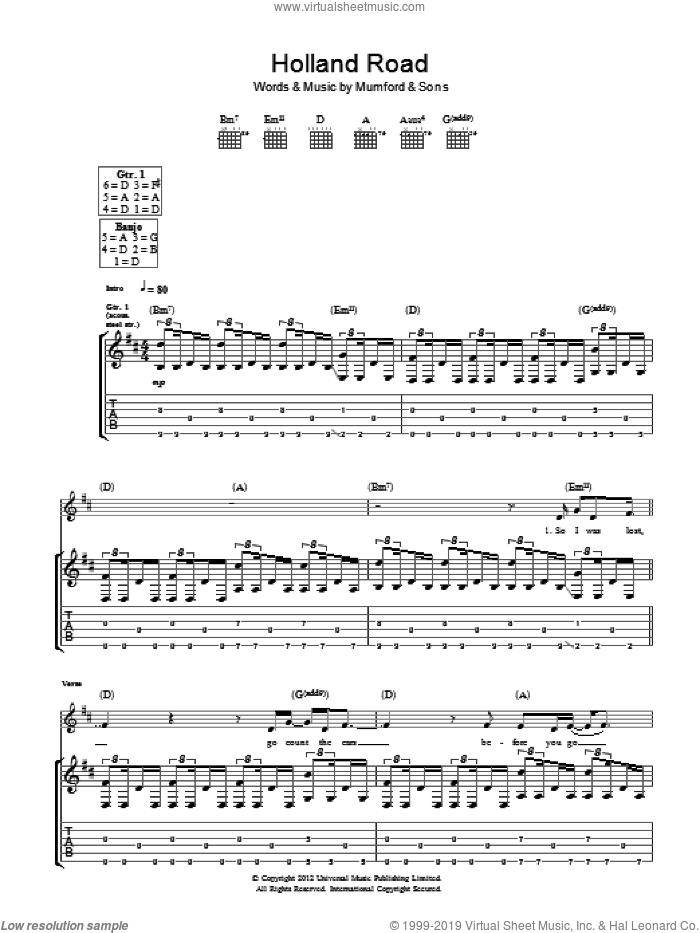 Holland Road sheet music for guitar (tablature) by Mumford & Sons. Score Image Preview.