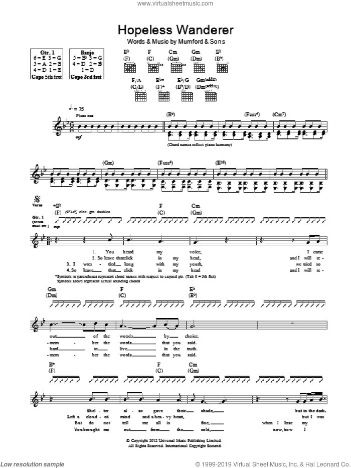 Hopeless Wanderer sheet music for guitar (tablature) by Mumford & Sons, intermediate. Score Image Preview.
