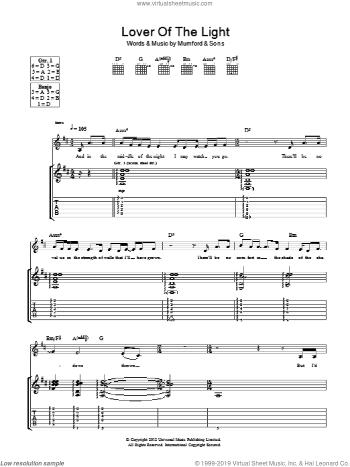 Lover Of The Light sheet music for guitar (tablature) by Mumford & Sons