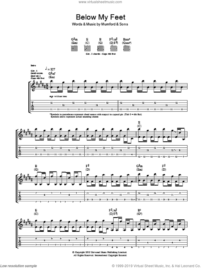 Below My Feet sheet music for guitar (tablature) by Mumford & Sons. Score Image Preview.