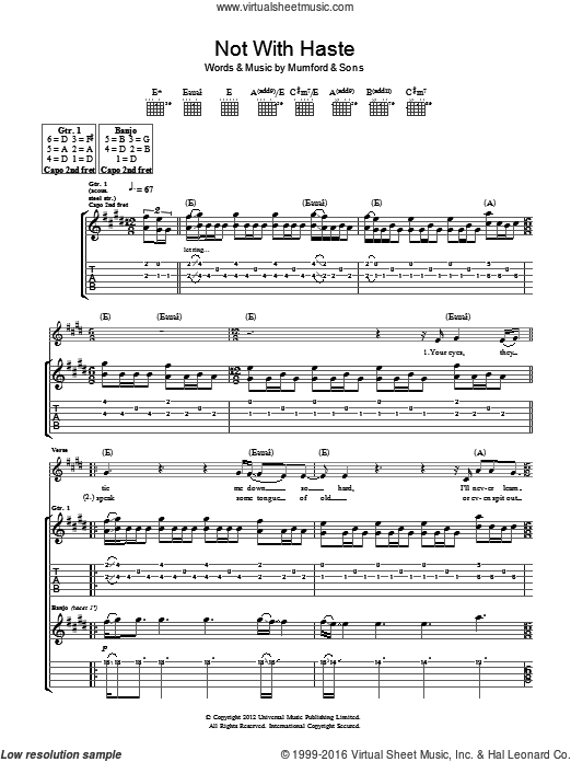 Not With Haste sheet music for guitar (tablature) by Mumford & Sons, intermediate guitar (tablature). Score Image Preview.