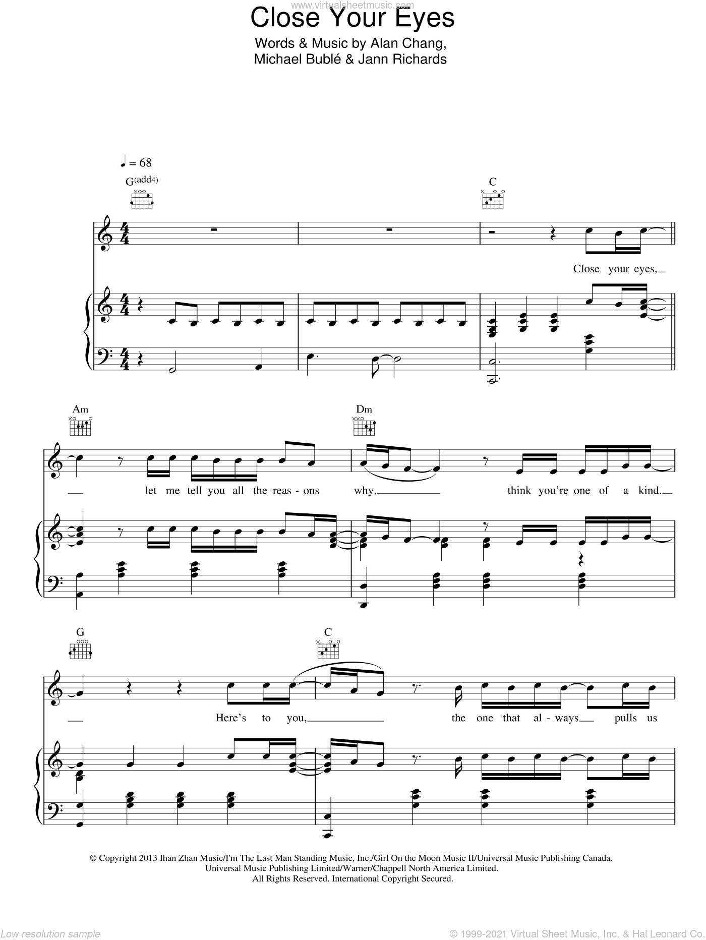 Close Your Eyes sheet music for voice, piano or guitar by Michael Buble, Alan Chang and Jann Richards, intermediate skill level
