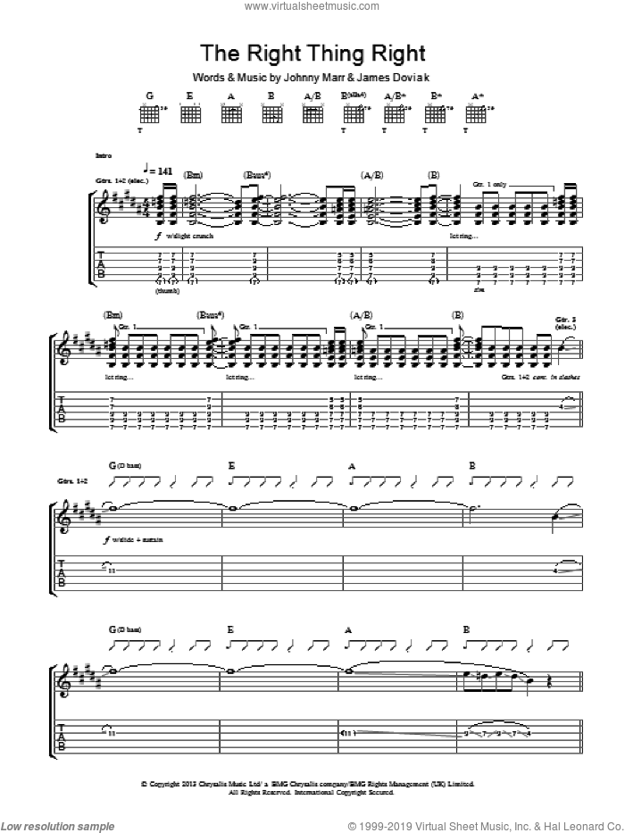 The Right Thing Right sheet music for guitar (tablature) by Johnny Marr and James Doviak, intermediate. Score Image Preview.