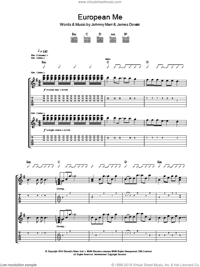 European Me sheet music for guitar (tablature) by Johnny Marr and James Doviak, intermediate