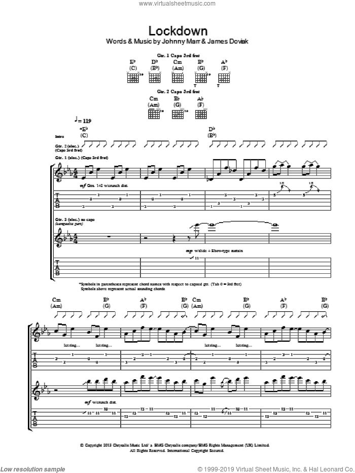 Lockdown sheet music for choir by Johnny Marr and James Doviak, intermediate skill level
