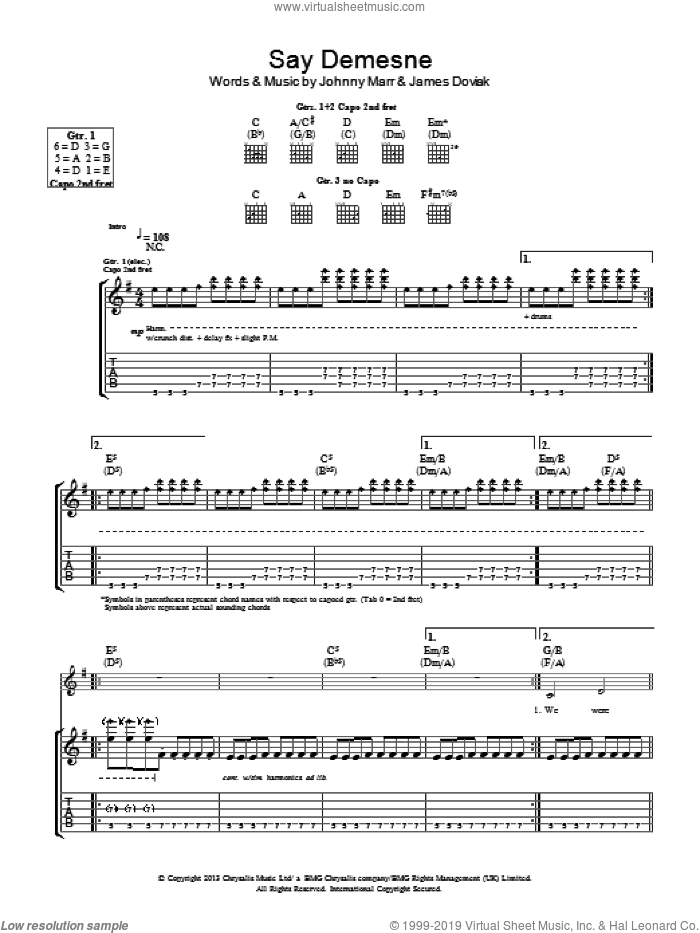 Say Demesne sheet music for guitar (tablature) by James Doviak and Johnny Marr. Score Image Preview.