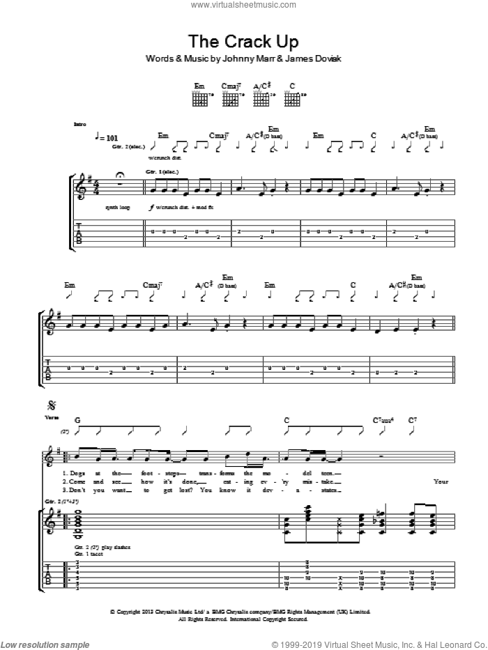 The Crack Up sheet music for guitar (tablature) by Johnny Marr and James Doviak, intermediate skill level