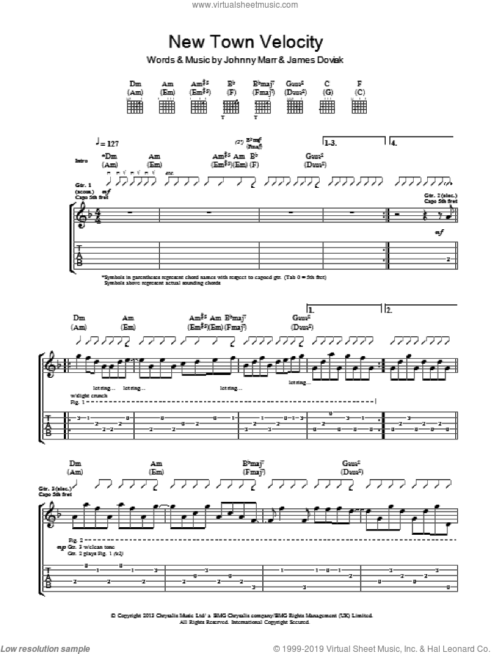 New Town Velocity sheet music for guitar (tablature) by James Doviak and Johnny Marr. Score Image Preview.
