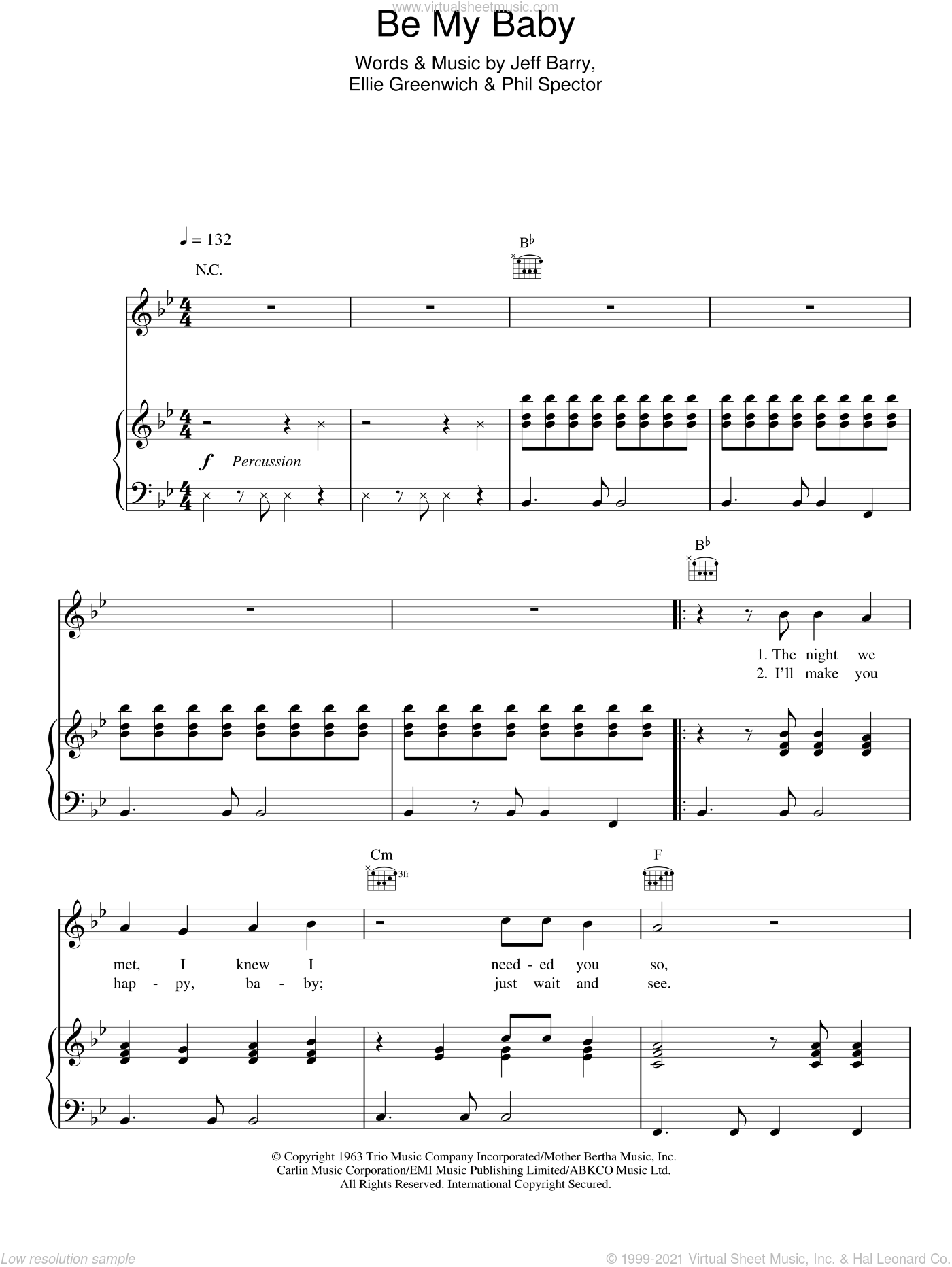 Be My Baby sheet music for voice, piano or guitar by Michael Buble, Ellie Greenwich and Jeff Barry, intermediate skill level